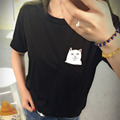 High Quality New Fashion Middle Pocket Cat Men and Women Can Wear Short sleeved T shirt