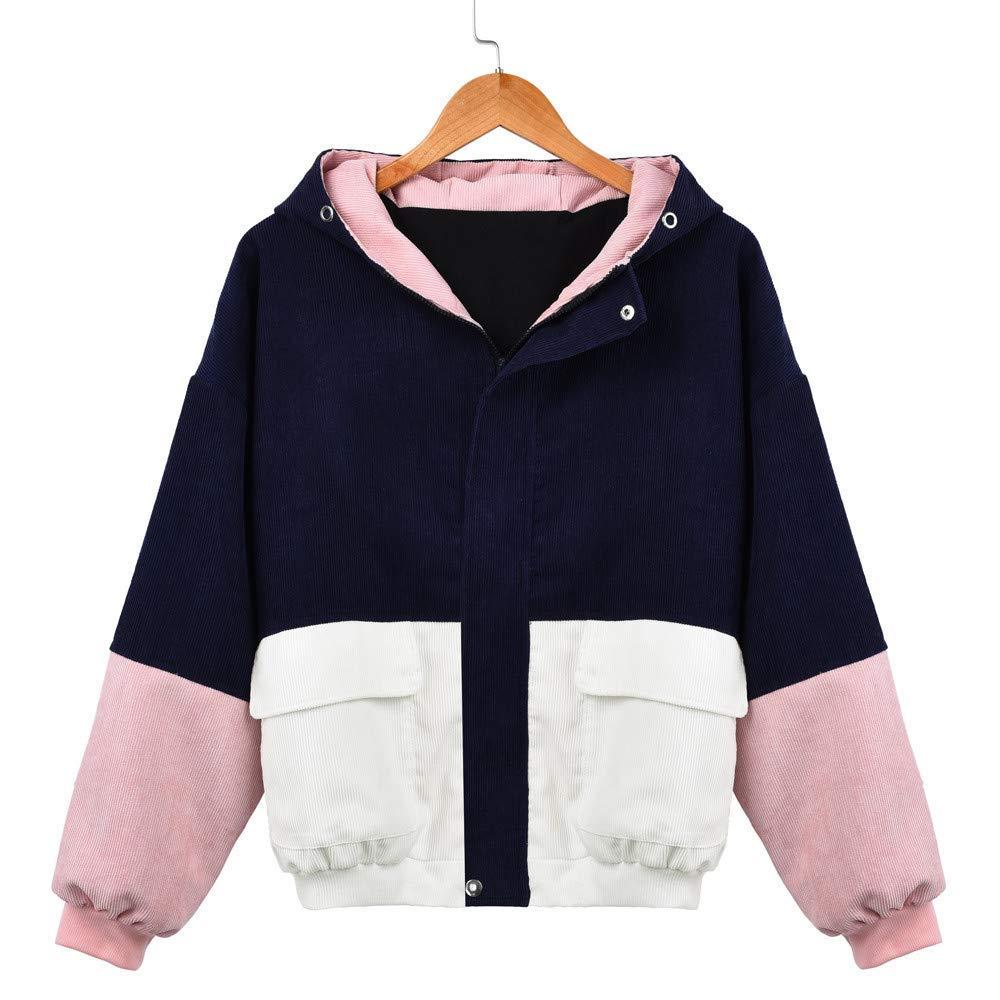 Cuekondy_Sweatshirt Women Oversized Hooded Jacket Coat Winter Long Sleeve Pocket Corduroy Patchwork Windbreaker