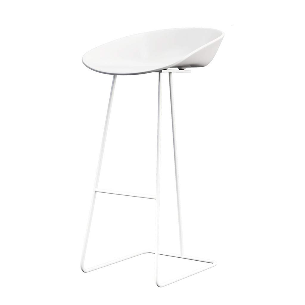NUBAO Bar Stool,  Iron Bar Chair, Restaurant, Counter Chair, Anti-Aging Panel  Geometric Stereo High Stool 3 Sizes  Suitable for 95-120cm Bar Counter Counter (White) (Color : White, Size : 75cm)
