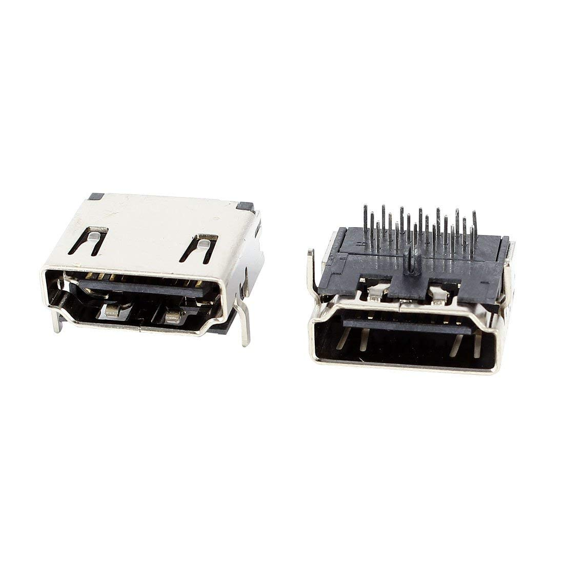 2 Pcs HDMI Type A Female Connector PCB Jack 19pin SMT 90 Degree Socket