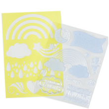 12pcs craft diy rainbow weahter theme clear stamp, pvc stencil