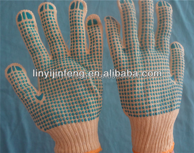 high quality pvc dotted cotton knitted safety work gloves