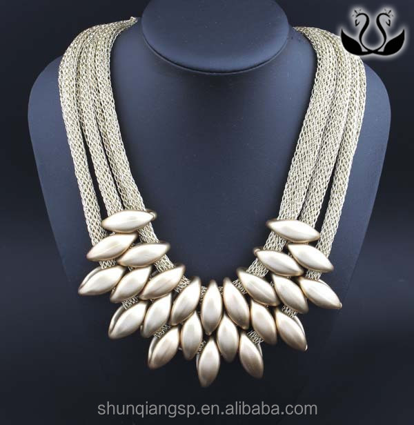 2016 Fashion Handmade Gold Plated New Weave Mesh Necklace