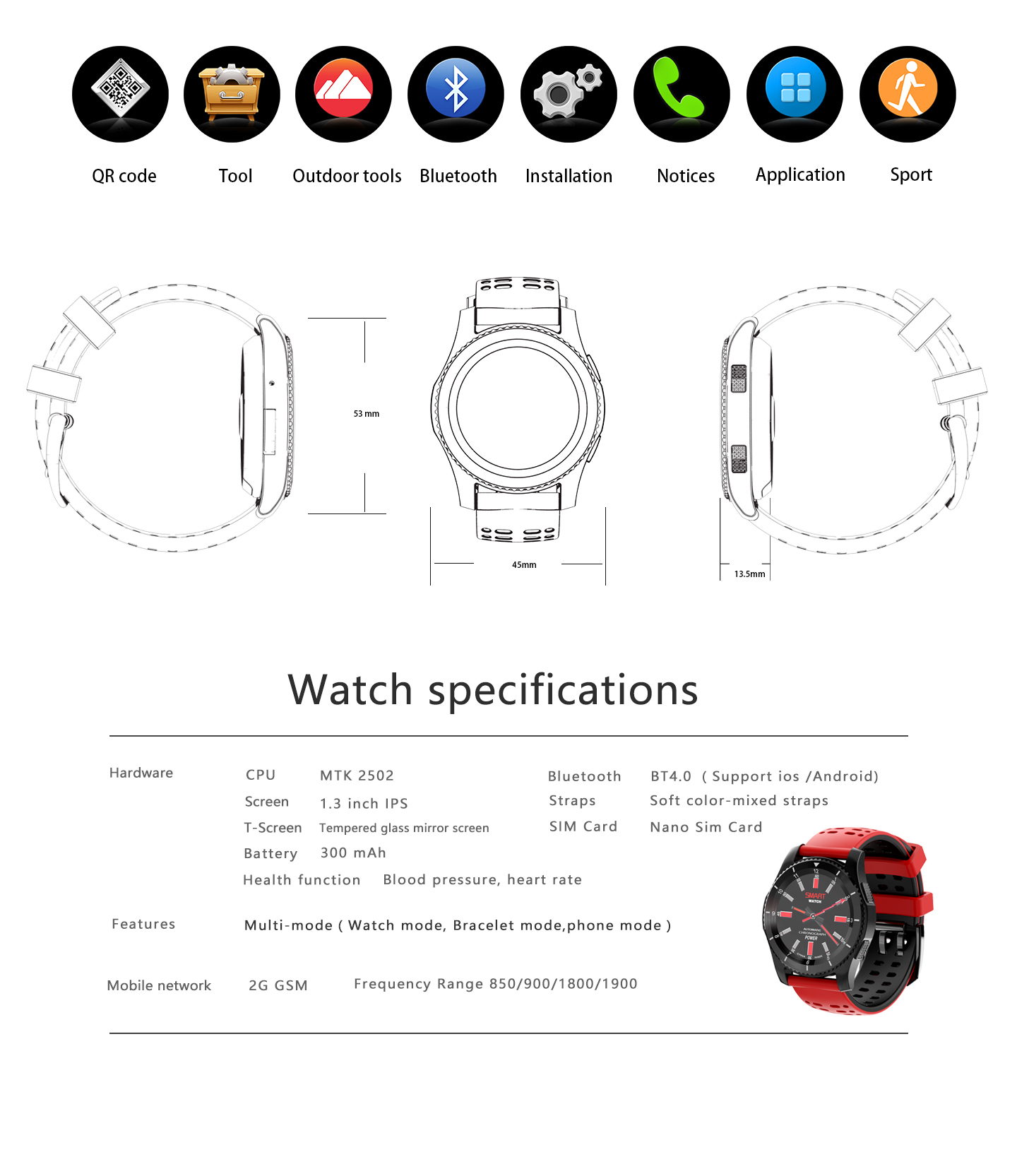 GS8 Step Calorie Heart Rate Monitor Smart Watch SIM Card Slot Message Wristband For Android IOS Phone Watch