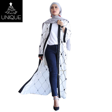 2018 White and Black Print kaftan Modern islamic clothing dubai abaya