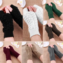 Fashion Unisex Men Women Knitted Fingerless Winter Gloves Soft Warm Mitten VM