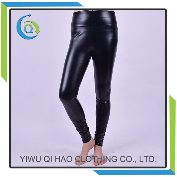 Fashion black PU leather thick wither warm leggings
