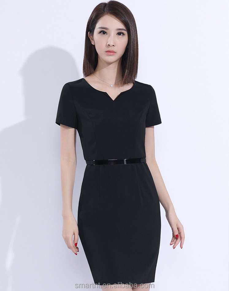 Woman One Piece Dress Bodycon Black Dress For Office Lady Formal