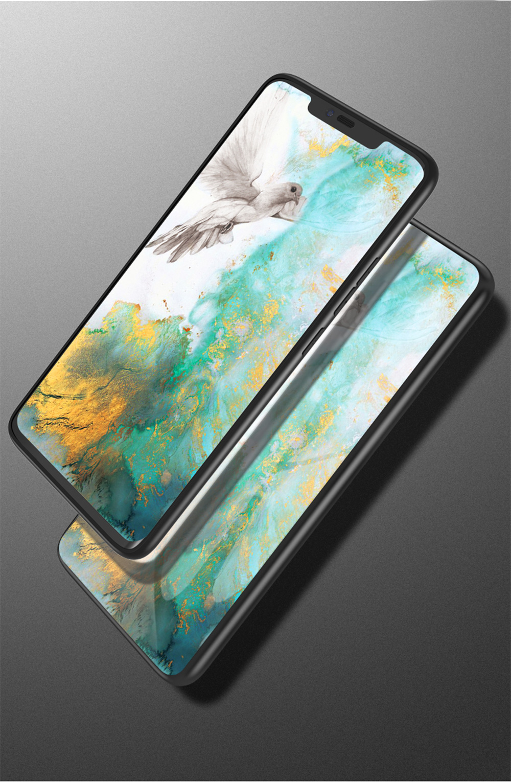 Luxury Marble Style Tempered Glass Phone Cases Anti-scratch Shell for LG G7