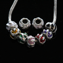 Antique silver lampwork glass beads for bracelet faceted beads