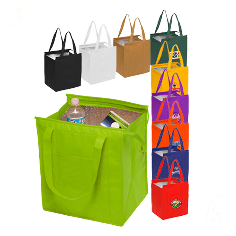 Custom printed hot sales Non Woven Insulated Shopper tote Bag with zipper