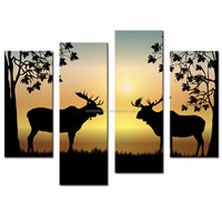 LK4163 4 Panel Oil Paintings Two Deers On the Forest Sunrise Morning Wall Art On Canvas For Home Bar Hub Kitchen Modern Decorati