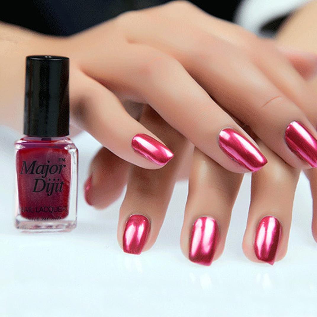 Women Nail Polish, Lotus.flowe 7ML Mirror Effect Metallic Nail Lacquer Plating Silver Varnish Nail Art Charming Makeup (Red)