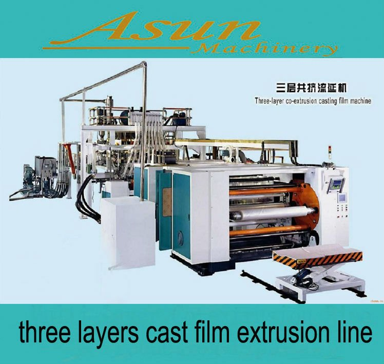three layers cast film extrusion line