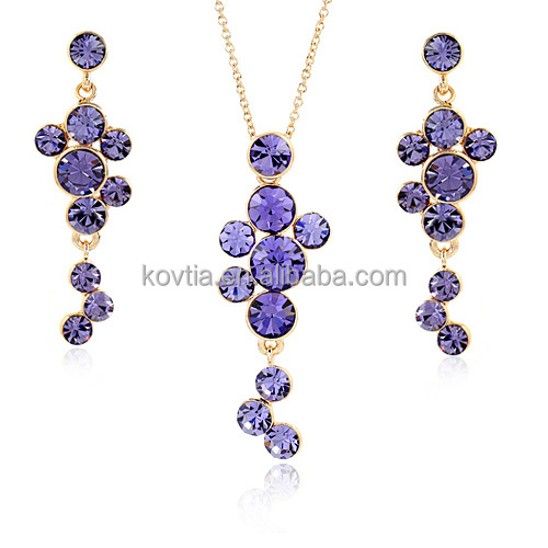 Purple crystal jewelry set fashion necklace and earrings set african beads jewelry set