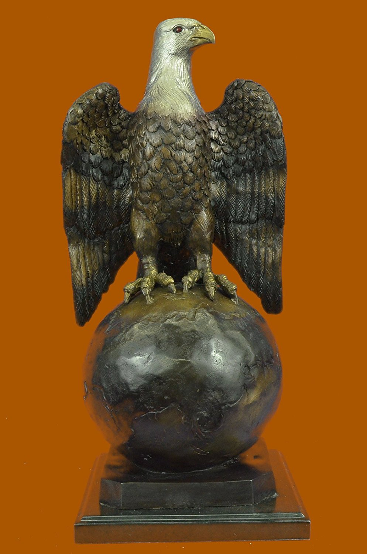 ...Handmade...European Bronze Sculpture Collector Edition American Eagle Hawk Falcon Art (89070M-UK) Bronze Sculpture Statues Figurine Nude Office & Home Décor Collectibles Sale Deal Gifts