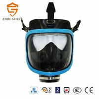 Light weight Full face gas fireproof mask- Blue single cartridge for security