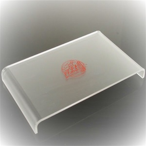frosted hot pressing acrylic serving tray custom silk screen rectangular plexiglass tray for hotels