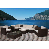 simple design 9 pieces sectional patio furniture synthetic wicker 7 seater sofa set