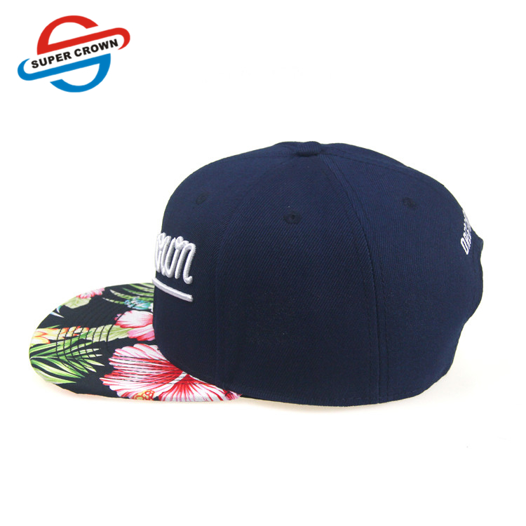 Hotsale Sublimation Printed Flat Floral Brim Benutzerdefinierte Werbe Snapback Caps