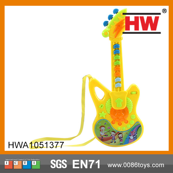 Hot Sale B/O Children Plastic Toy Cartoon Musical Instruments kids mini guitar