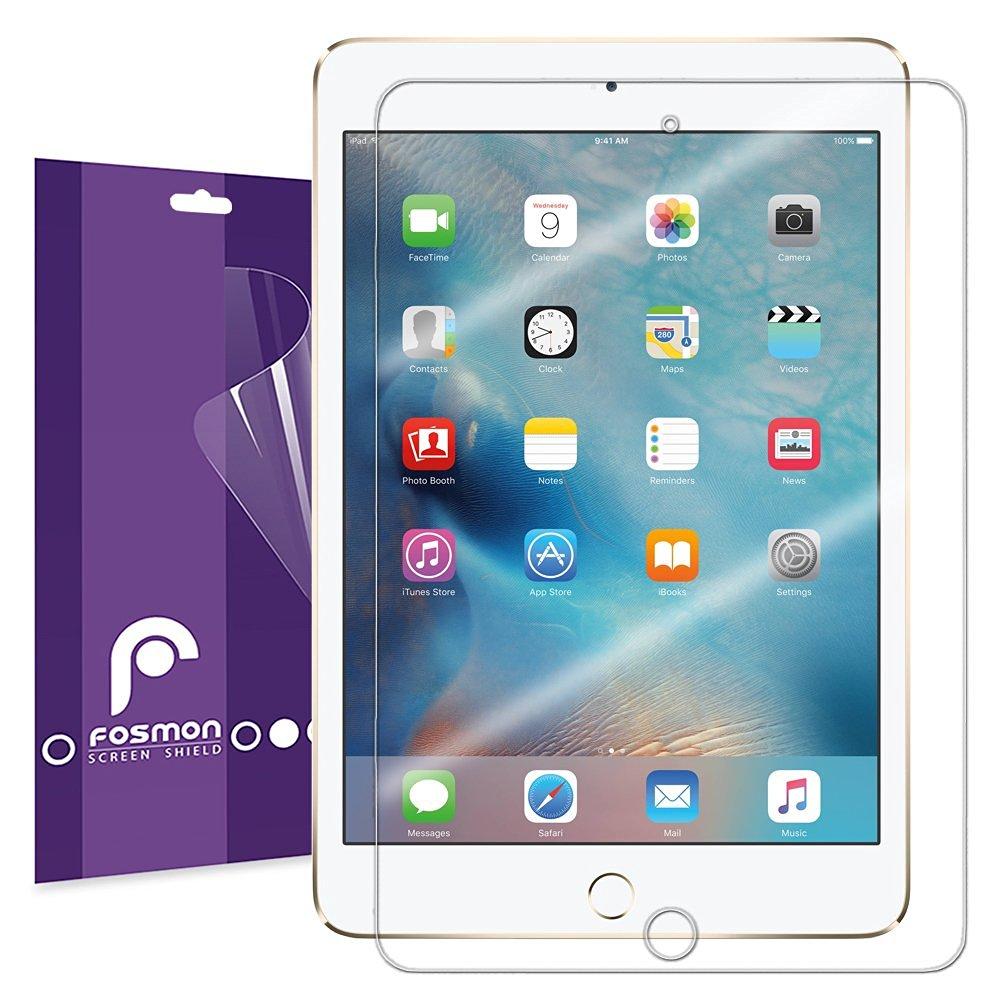 Apple iPad Mini 4 Screen Protector - Ultra Clear (HD) - Fosmon [Japan 3H Hard Coating Film] Anti-Bubble - Anti-Fingerprint - Non-Sticky Residue (3 Pack)