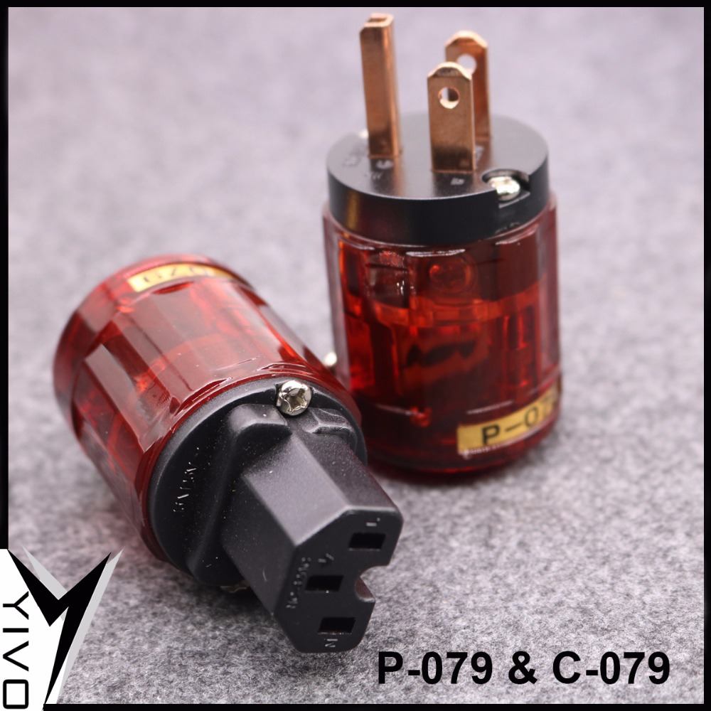 P-079 C-079 HIFI DIY Red Copper US Audio Speaker Connector Power Plug IEC Plug For Power AC Power Cable