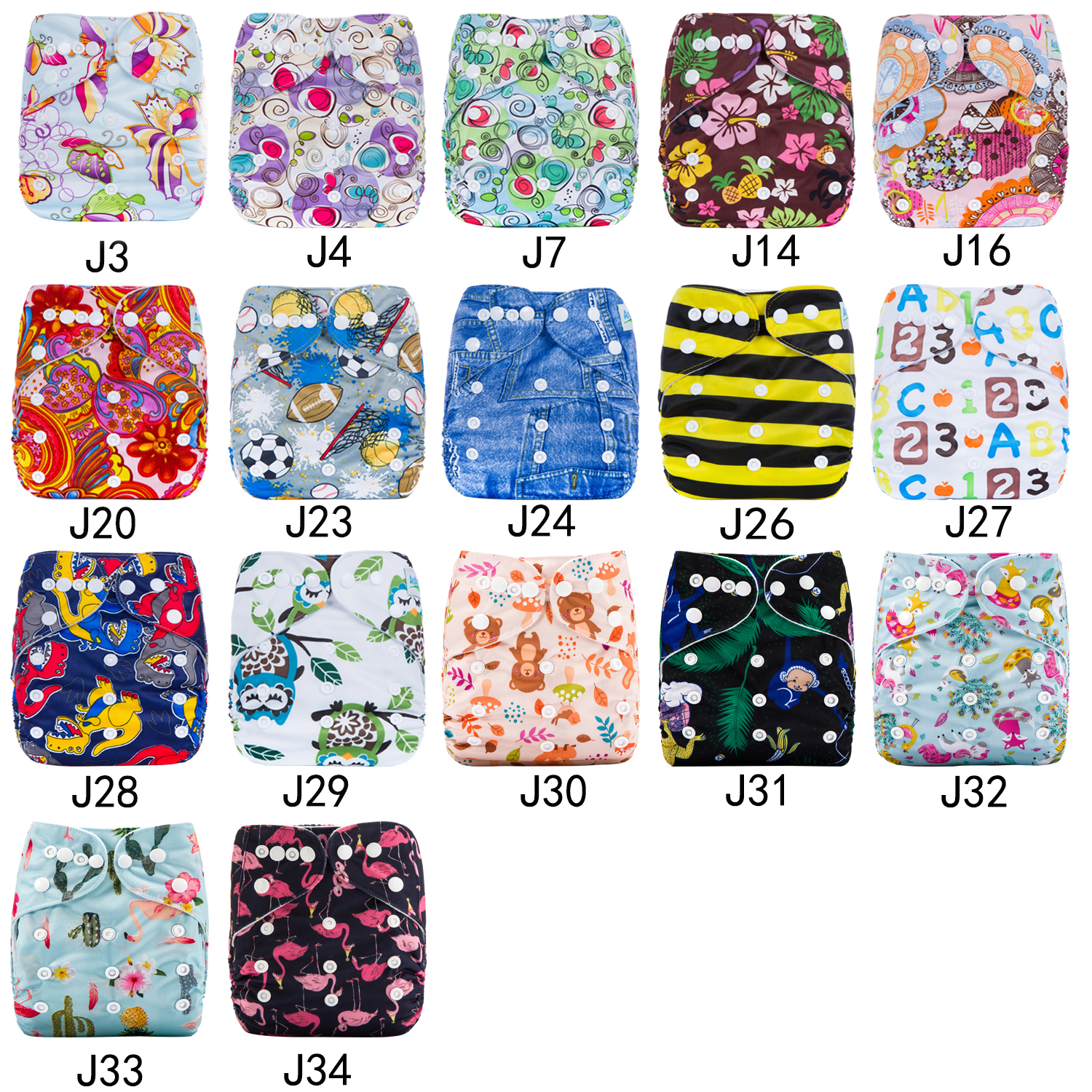 AnAnBaby INS and Amazon hot selling Flamingo printings baby cloth diaper fit 3-15kg baby