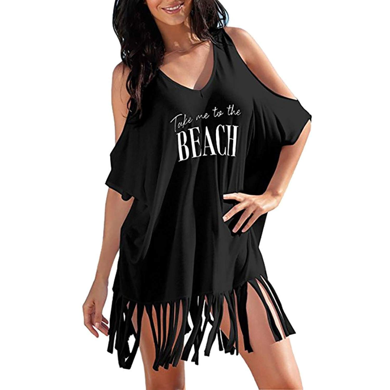 b41b38f2ed Get Quotations · GINELO Womens Letters Print Baggy Swimwear Bikini Beach  Dress, Womens Letters Print Baggy Swimwear Bikini