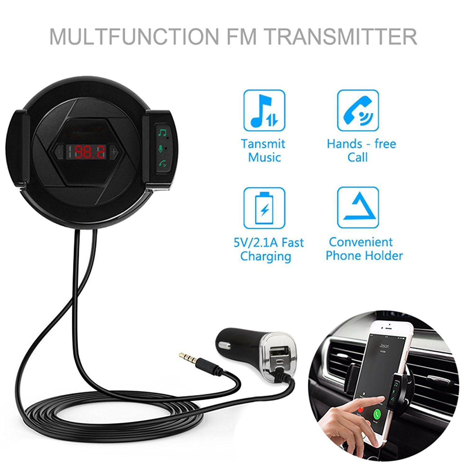 FM Transmitter ixaer Wireless Audio Receiver Stereo, Car Kit With USB Fast Car Charger, Microphone Hands-free Phone Charger Three-in-one for iPhone, Android and MP3 etc.