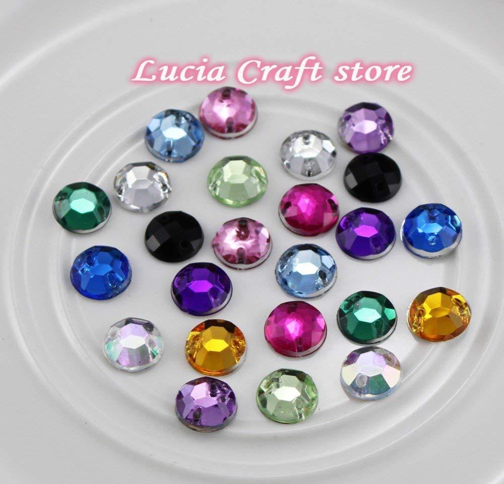 Get Quotations · 100pcs lot 8mm Acrylic Flat Back Sew On Rhinestone 2 Holes  Sew-On Crystal 6585537a3290