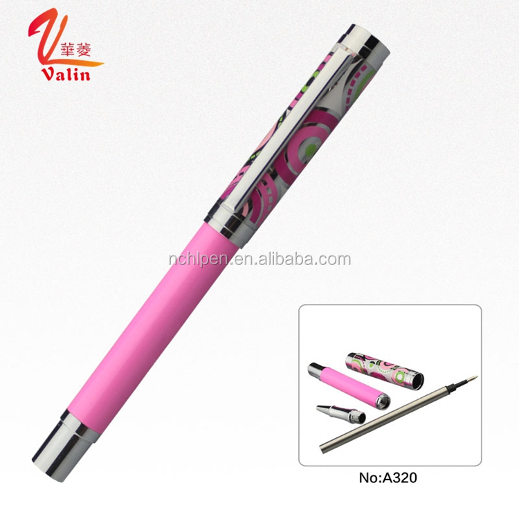 Novelty Heat Transfer Printing High Quality OEM Pink Metal Roller Pen for Birthday Gift