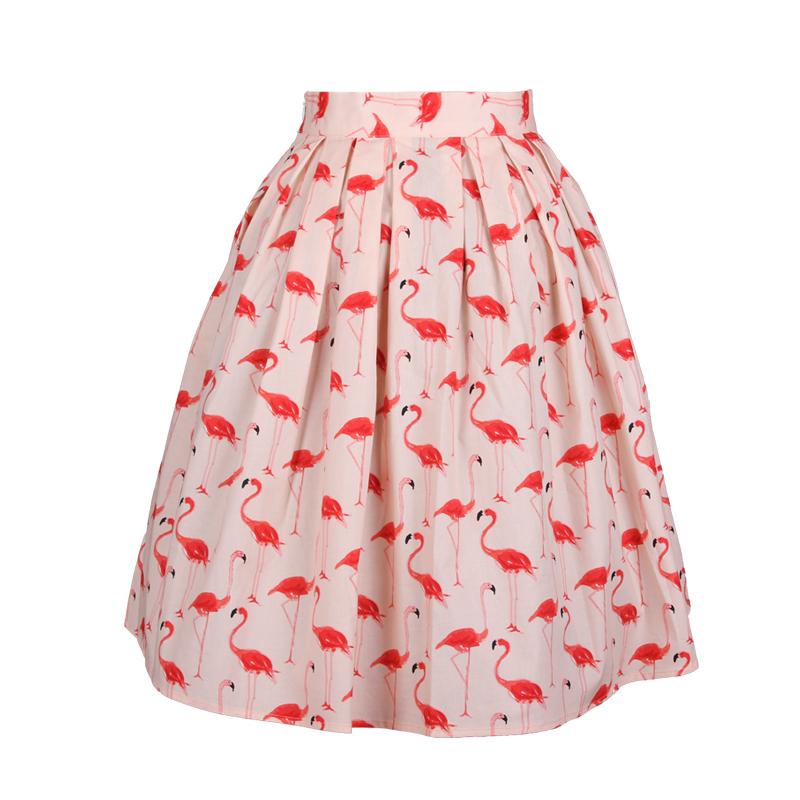 55e9fa4f2 Get Quotations · 50s Vintage Girls Summer Style Sweet Small Flamingo Animal  Print High Waist Pleated Midi Skirt Rockabilly