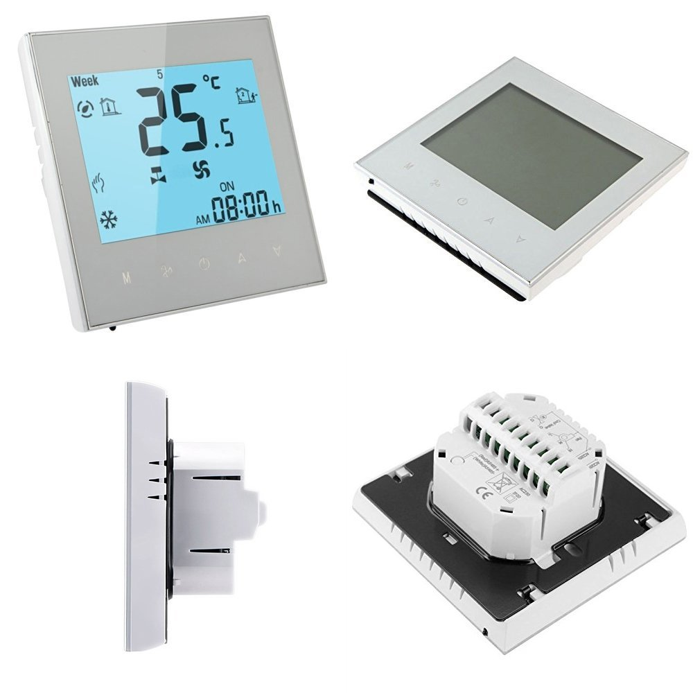 Programmable Thermostat,Youngnis WIFI Control LCD Touch Screen 2/4-Pipe Programmable Room Thermostat for Central Air Conditioner (2-Pipe for Central Air Conditioner, White)