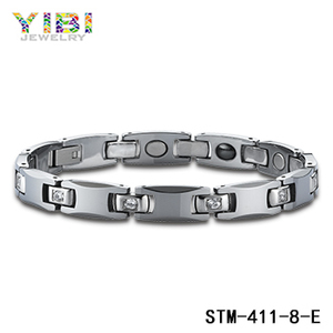 Tungsten Magnetic Bracelet Faceted Jewelry Button CZ Stone Inlay Diamond Tennis Bracelet Magnetic Bracelet China