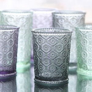 Home decor machine-pressed Green Color embossed Water Glass/Color glass tumbler
