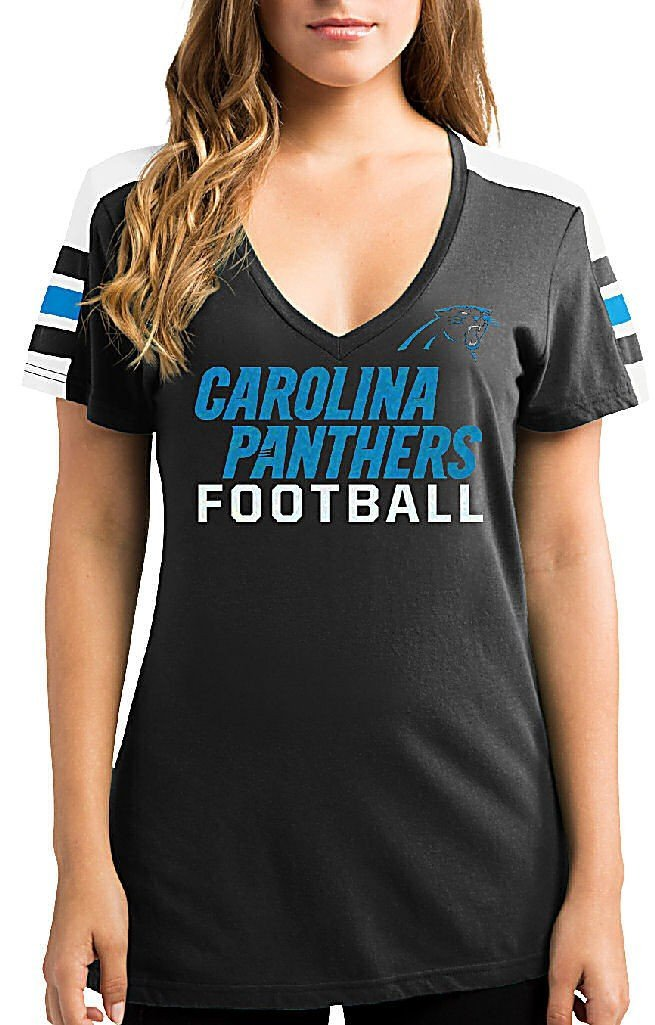 3a6e4832f Get Quotations · Ladies Carolina Panthers Black Pride Playing V Neck Short  Sleeve Tee Shirt