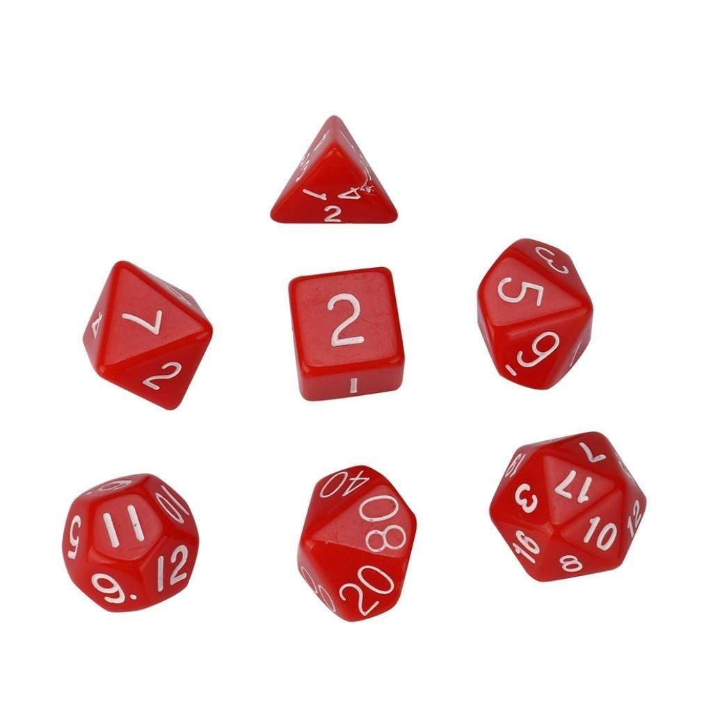 Gbell 7pcs/Set TRPG Game Dungeons & Dragons Polyhedral D4-D20 Multi Sided Acrylic Dice,By