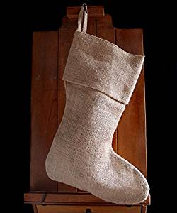 "AK-Trading Burlap Jute Holidays Christmas Stockings - Pack of 6 (Natural Burlap, 8"" x 17""H x 12"" foot)"