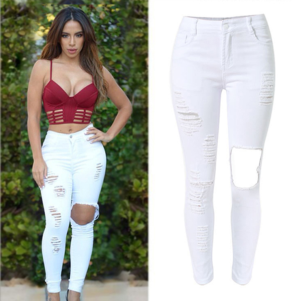 2016 Summer Fashion Women Skinny Baggy Jean Pants Ladies Sexy White Tearing Holes Stretch High Waist Ripped Jeans Pent Style