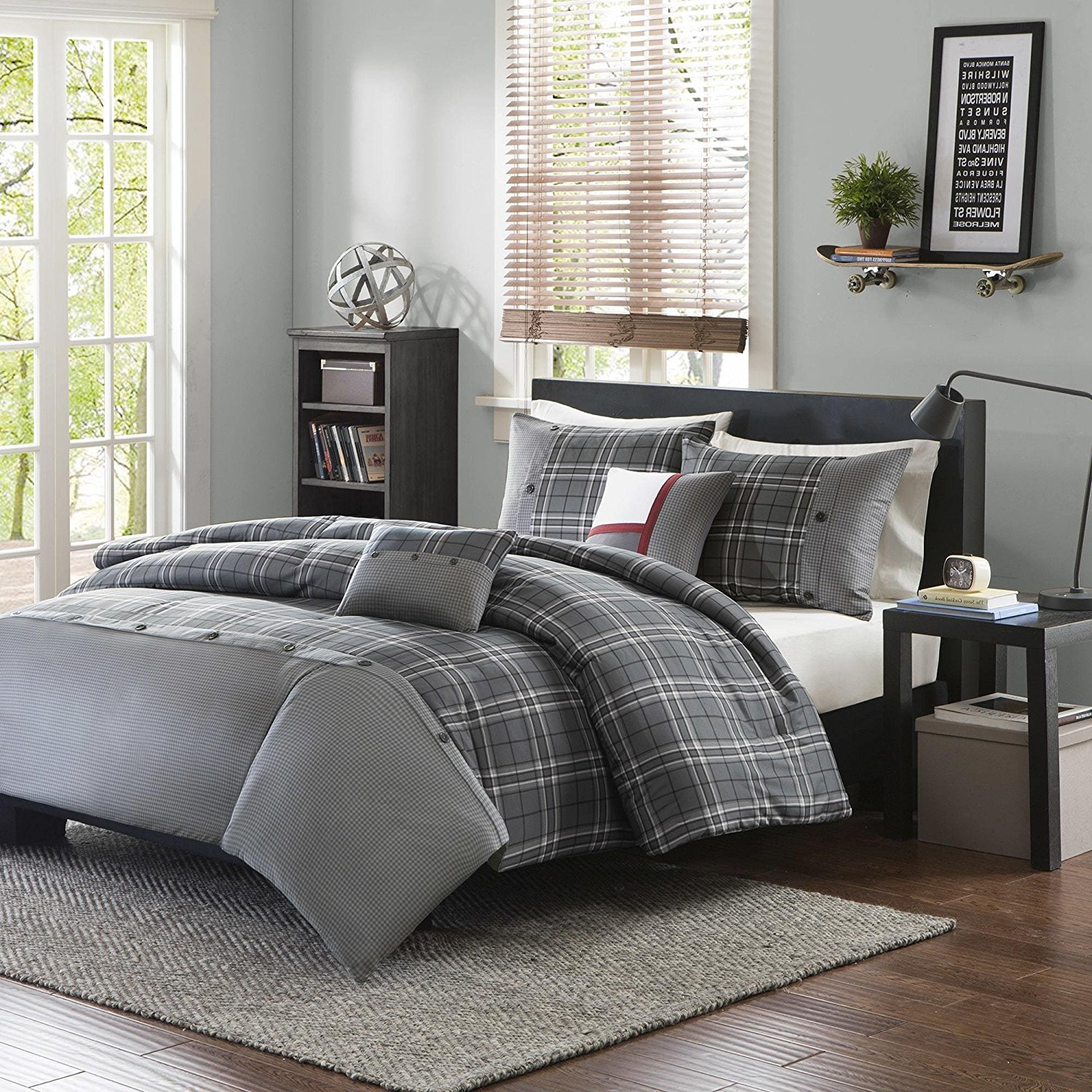 5pc Grey Plaid King/Cal King Size Duvet Cover Set, Vibrant Gray Lumberjack Cabin Country Themed Lodge Checkered Bedding, Woods Tartan Madras Checked Squared Stripes, Polyester