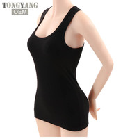 Tongyang Summer Sexy Low-cut Basic T-shirts Fashion Lady Tank Top Solid Comfortable Cotton Sleeveless Camisole Tops Women's Vest