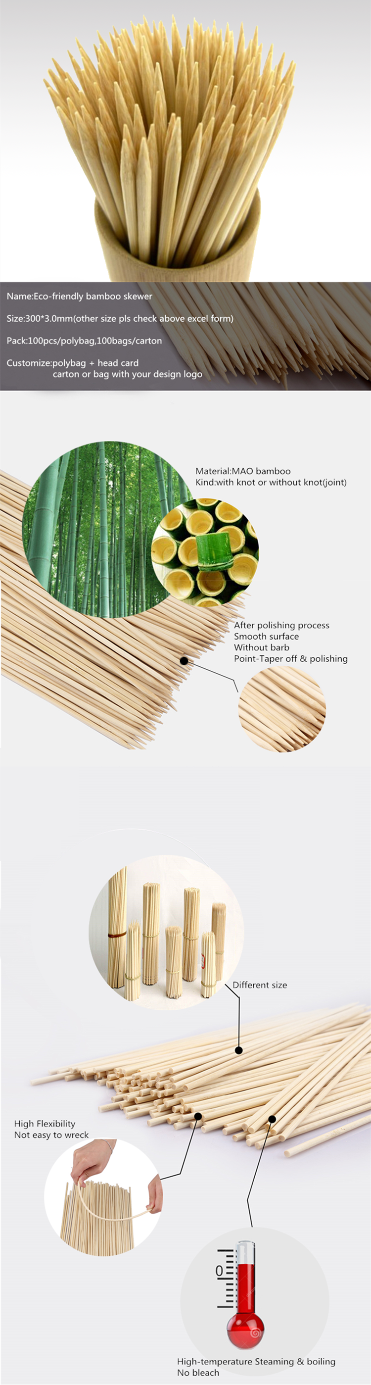 customize 36inch *5mm easily cleaned bamboo marshmallow roasting sticks