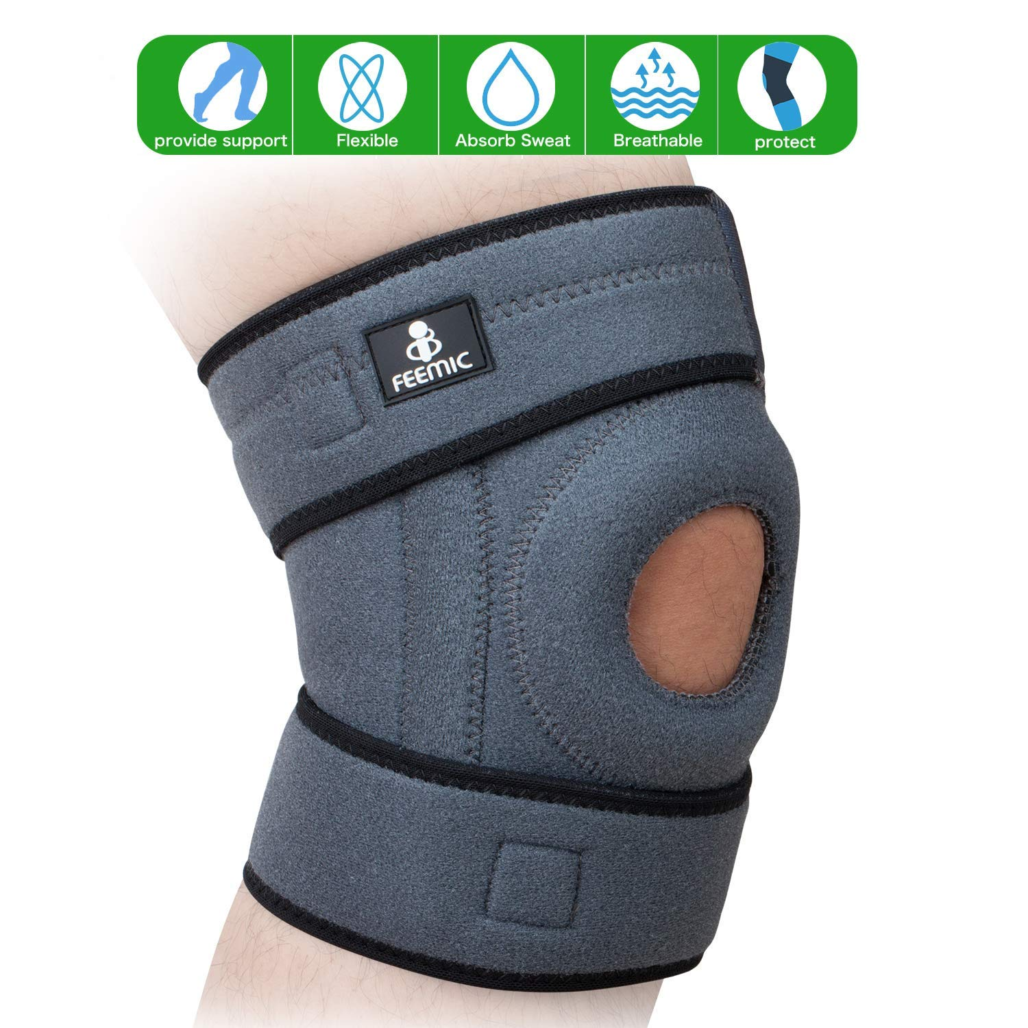 6582a1cf81 Get Quotations · BSUEA Knee Brace Support with Adjustable Strapping  Non-Slip Breathable Sleeve. Meniscus Tear Support