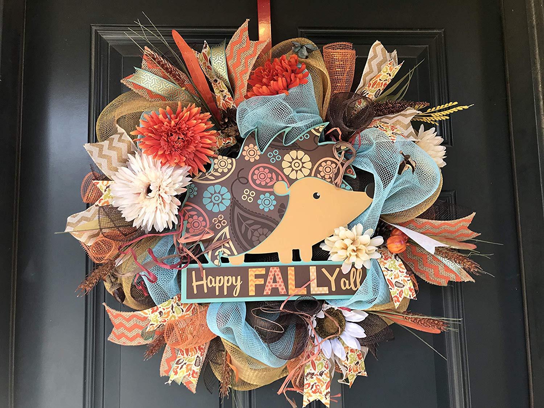 Hedgehog wreath, Happy Fall Y'all wreath, Thanksgiving wreath, fall wreath, thanksgiving decor, rustic wreath, farm house wreath