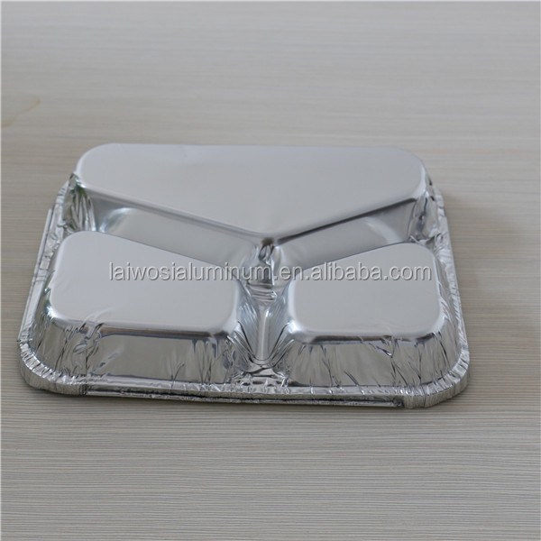 divided aluminum foil container, rectangular divided plate, aluminium foil tray 3 compartments