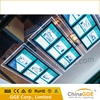 Crystal backlit ceiling real estate window display with acrylic light sheets