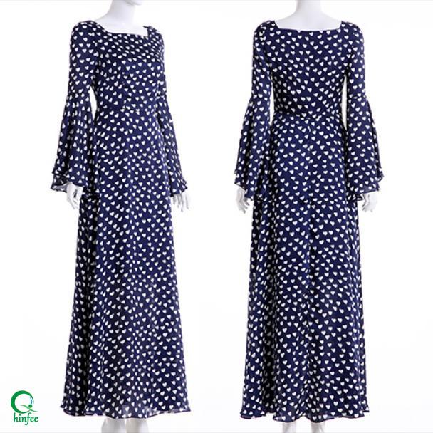 Mujer De Impreso Gasa Buy Campana Estampado Mujer Largo vestido Maxi Manga D497 Acampanada Vestido vestido 1TK3lJFc