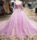 LSS325 party dress purple flower long dresses long train victorian ball gown
