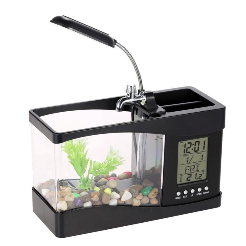 UCHOME Fascinations USB mini Desktop Aquarium Aquarium met klok